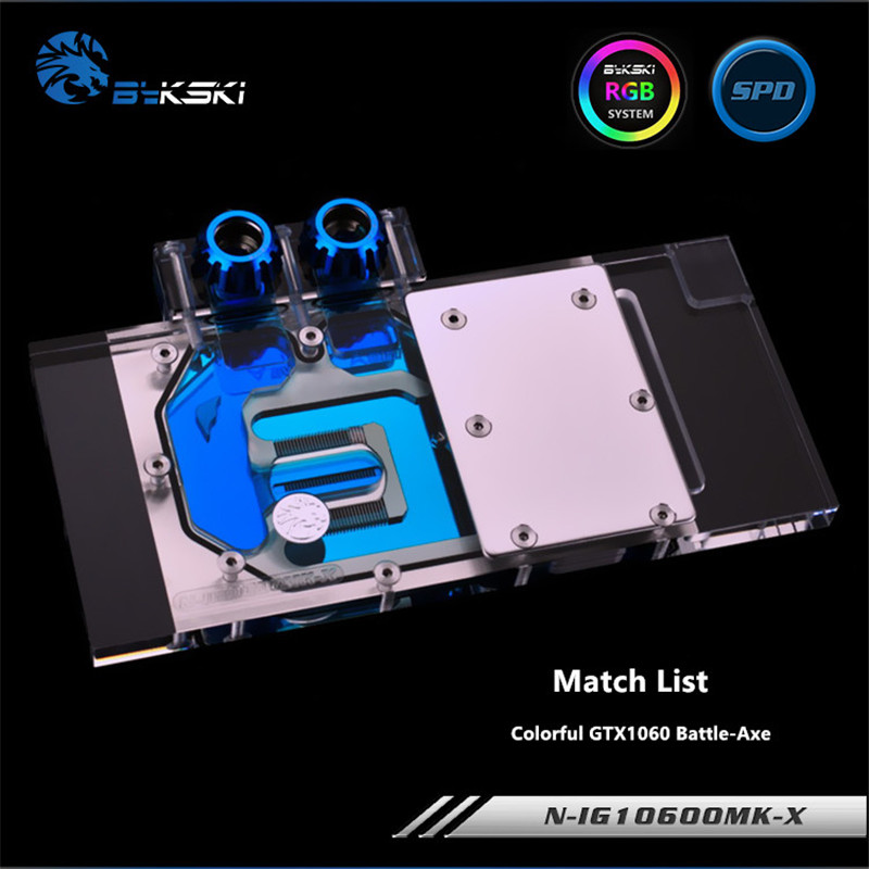 Bykski Full Coverage GPU Water Block For Colorful GTX1060 Battle-Axe Graphics Card N-IG1060OMK-X image