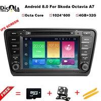 Восьмиядерный 4 + 32 г ips Android 8,0 аудио автомобиля для SKODA Octavia A7 2014 2017 dvd плеер головное устройство Автомобильный мультимедийный стерео