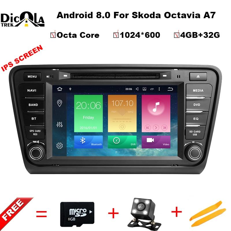 Octa Core 4 + 32g IPS Android 8.0 audio de voiture POUR SKODA Octavia A7 2014-2017 voiture dvd lecteur tête dispositif de voiture multimédia de voiture stéréo