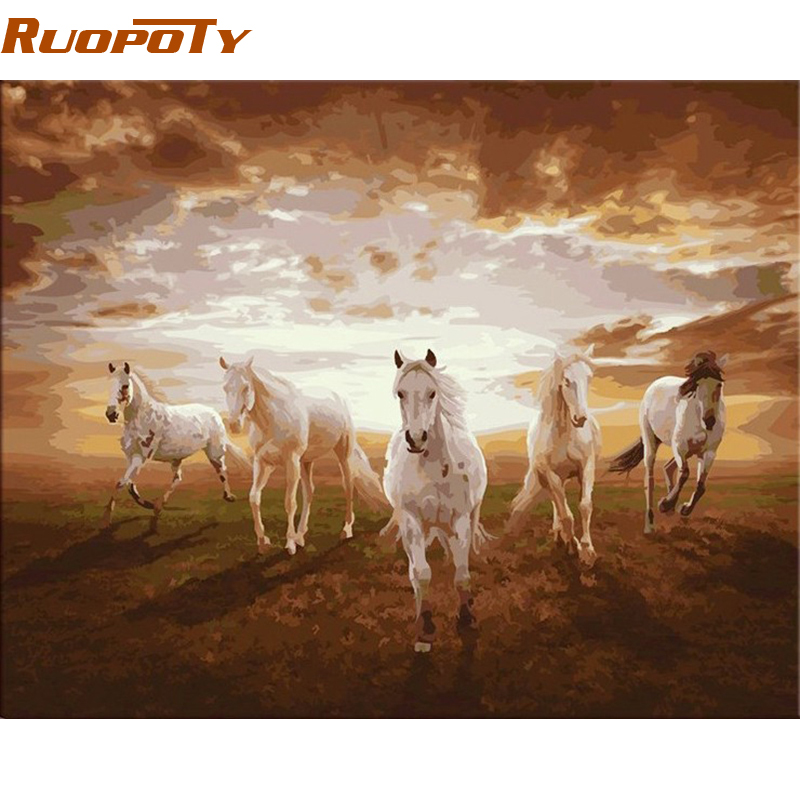 RUOPOTY diy frame Running Horse Animals DIY Painting By Numbers Modern Canvas Painting Home Wall Art Picture for Living Room