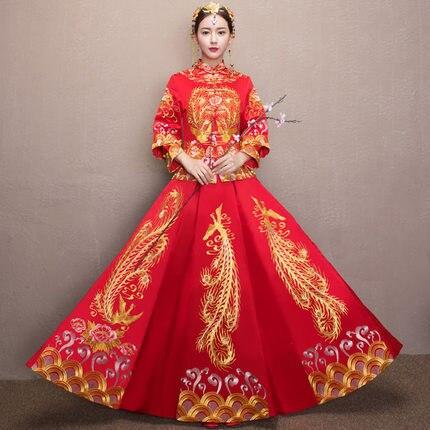 Women Chinese Phoenix Asian Bride Wedding Dress Gown Handmade ...