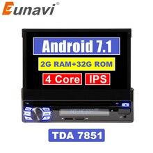 Eunavi 2 г оперативная память один 1 Din 7 «Android 7,1 DVD плеер автомобиля GPS Радио стерео Универсальный 1024*600 Hd головное устройство с Wi Fi сенсорный экран