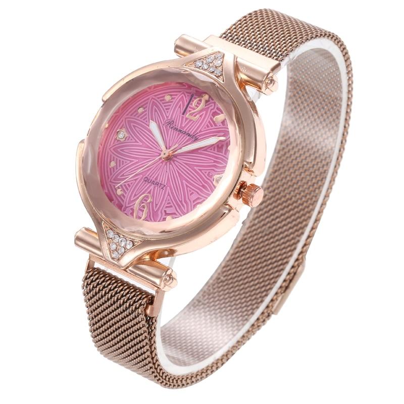 Flower Refraction dial Watches Quartz Women Watch Denim Simple Magnet buckle Casual Analog WristWatch Relogio Feminino