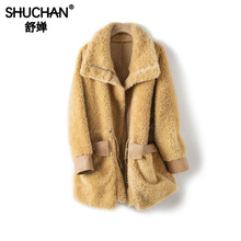Shuchan 2019 Winter Women Designer Coat Thick Warm Fur Wool Sheep Wide-waisted Outerwear Coats and Jackets