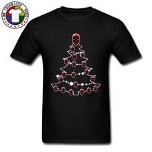 Spriderman Dead Pool Christmas Tree T Shirt Mens DC Comic Deadpool Flashman Ironman 100% Cotton Fools Day Tops Shirts