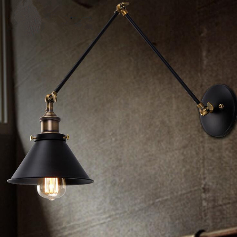 2018 Luminaria Loft Retro Industrial Wind Aisle Balcony Iron Wall Lamp Simple Originality Restaurant Bar Long Arm Decor Lights m best price vintage industrial style loft balcony aisle stairs corridor creative minimalist restaurant bar long arm wall lamp