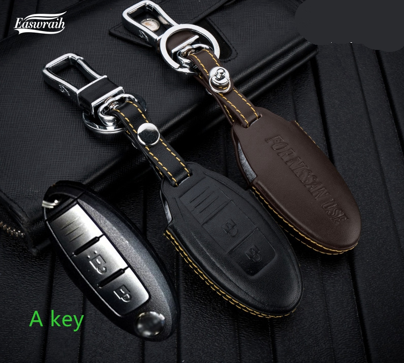 Gift 4D Genuine Leather Car Key Holder Cover For Nissan Juke Teana Qashqai Maxima Altima X-Trail T30 Tiida Livida Versa March