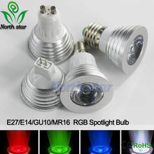 LED 16 Colour RGB Spotlight E27/E14/GU10/MR16 AC 86-265v MR16 DC12v RGB Colourful Lamp LED 5W Lighting +24 Key IR Remote Control(China)