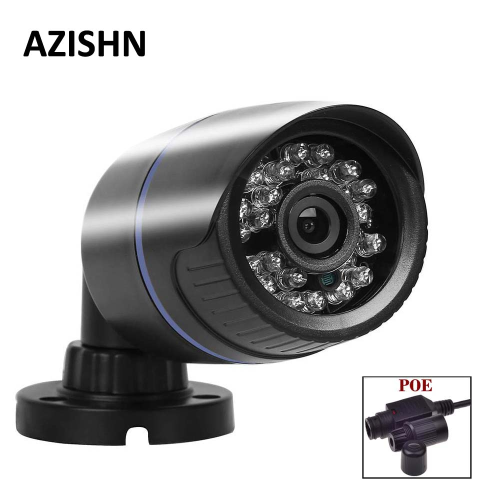 AZISHN POE IP camera 1280*720P 1.0MP/1920*1080P 2.0MP ONVIF 2.0 Waterproof CCTV IR-CUT 24IR Night Vision P2P Security Camera 1280 720p 1mp onvif poe bullet ip camera outdoor waterproof p2p ir cut filter network camera mini night vision cctv security cam