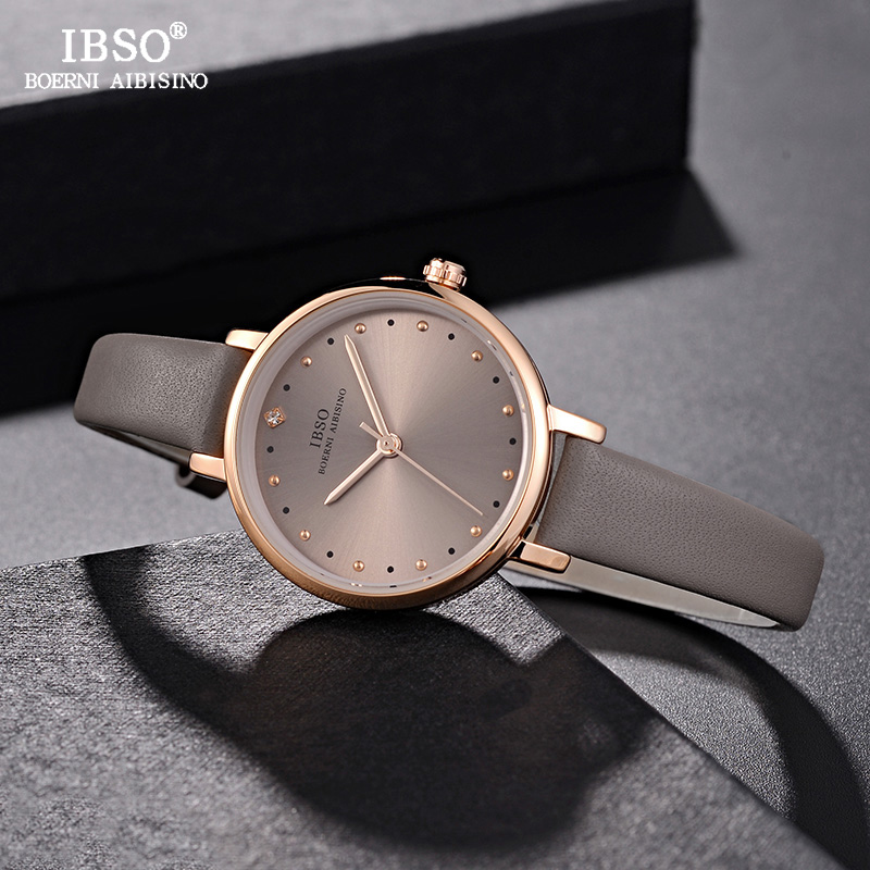 IBSO Brand Luxury Ladies Quartz Watch Leather Strap Montre Femme 2018Fashion Women Wrist Watches Relogio Feminino Female Clock women watches top brand luxury fashion slim red leather strap roman numerals dial quartz wrist watch ladies clock montre femme