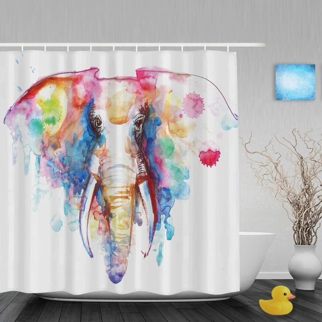 Watercolor Art Painting Elephant Shower Cutains Animal Designed Bathroom Curtains Polyester Waterproof Fabric With Hooks