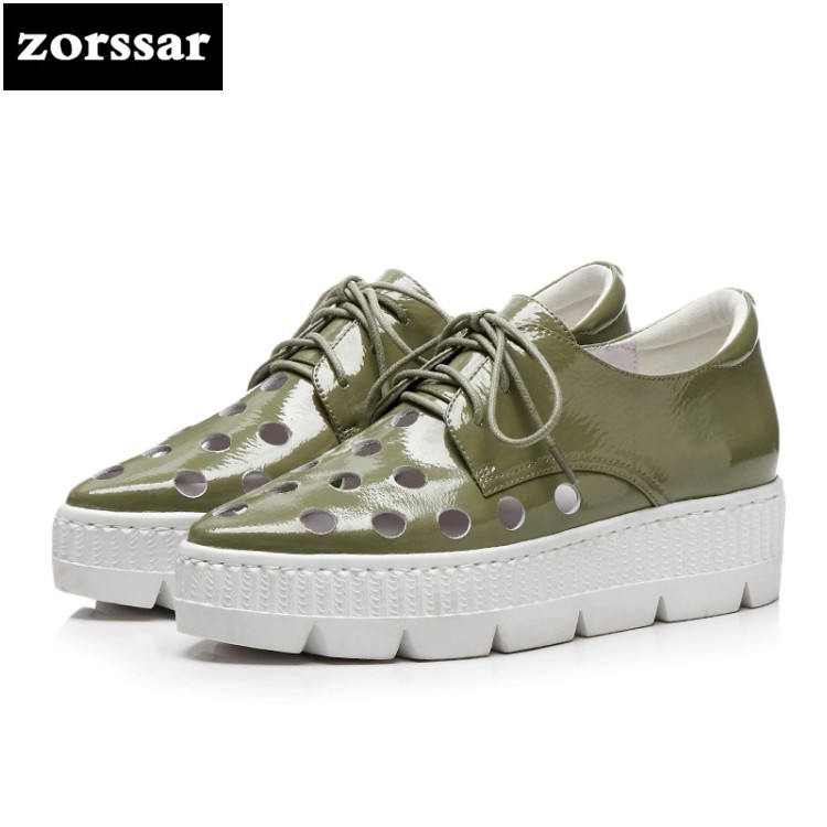 {Zorssar} 2018 New Genuine Leather Flats platform Women Shoes Breathable summer Ladies Casual shoes women sneakers shoes hzxinlive 2018 flat shoes women breathable flats shoes for women ladies casual platform female fashion summer sneakers footwear