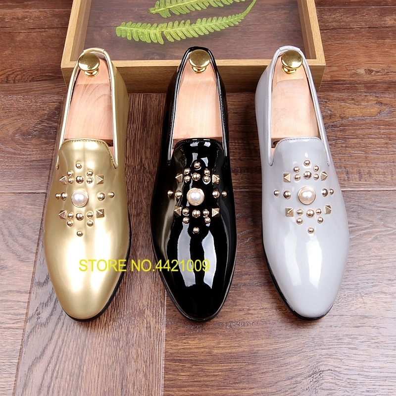 Fashion Gold Black Gray Mens Loafers Shoes Pearls Slip on Handmade Patent leather Driving Boats Shoes Flats Casual Mens Shoe Hot 1