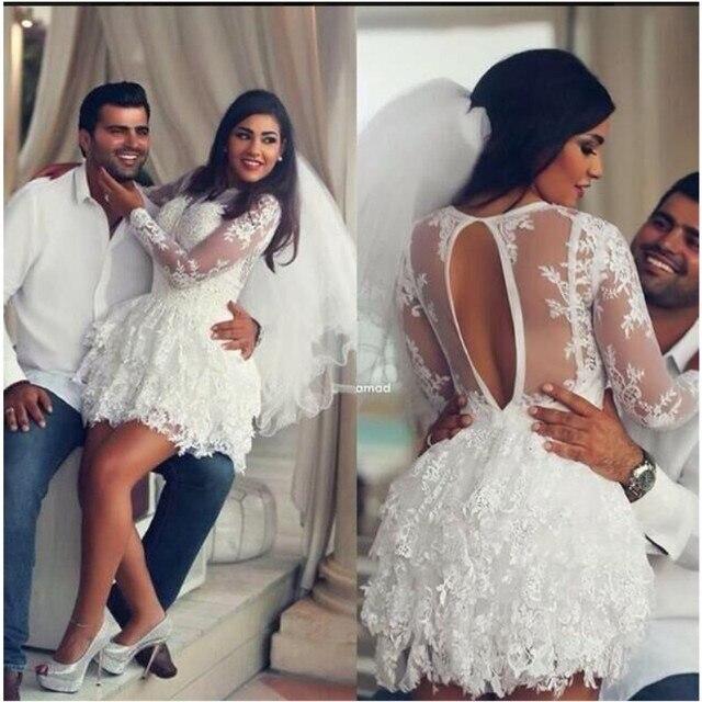 a07575db4 Delicado Encaje Sexy Apliques Corto Blanco Vestido de Fiesta de Manga Larga  Vestido de Fiesta robe