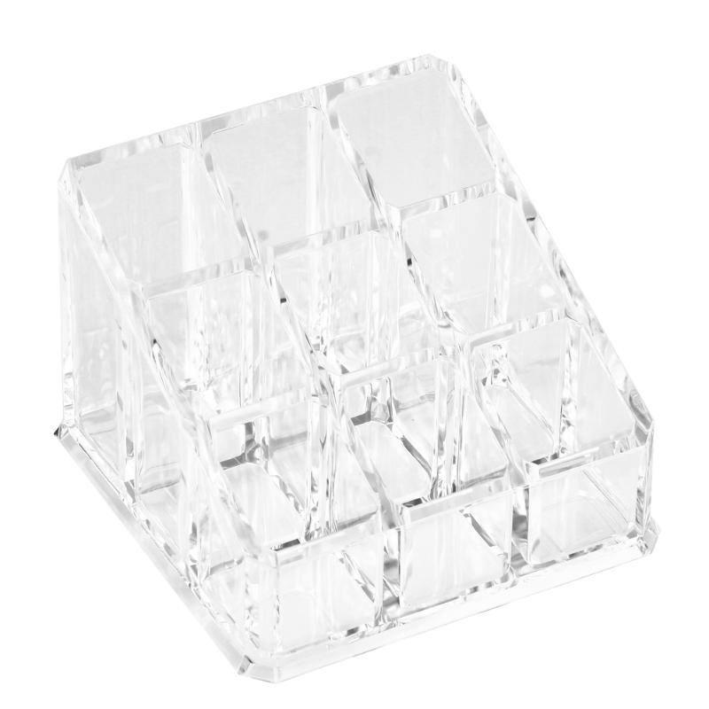 9 Grids Transparent Acrylic Cosmetic Box Organizer Makeup Brushes