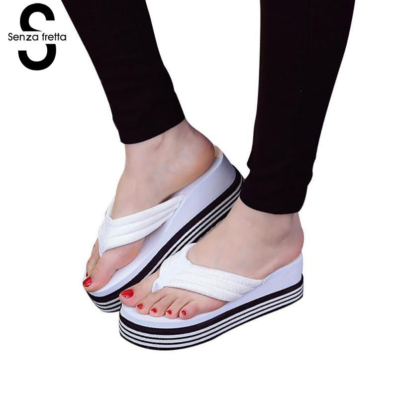 Senza Fretta 2018 New Summer Women Flip Flops Fashion Slope Thick Flip Flops Slippers Wedges Platform Outdoor Women Flip Flops