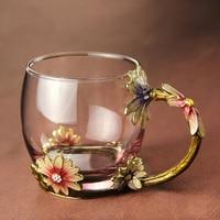 New Classical Enamel Glass Mug Coffee Tea Mugs With Spoon Luxury Glass Cups With Rhinestones Decoration