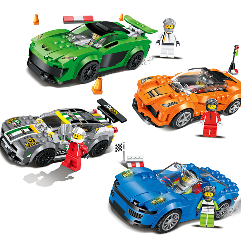 Qunlong Racing Car Building Blocks Educational Action Figures Compatible Legoe City Enlighten Bricks Christmas Gift Toys For Kid 6727 city street police station car truck building blocks bricks educational toys for children gift christmas legoings 511pcs