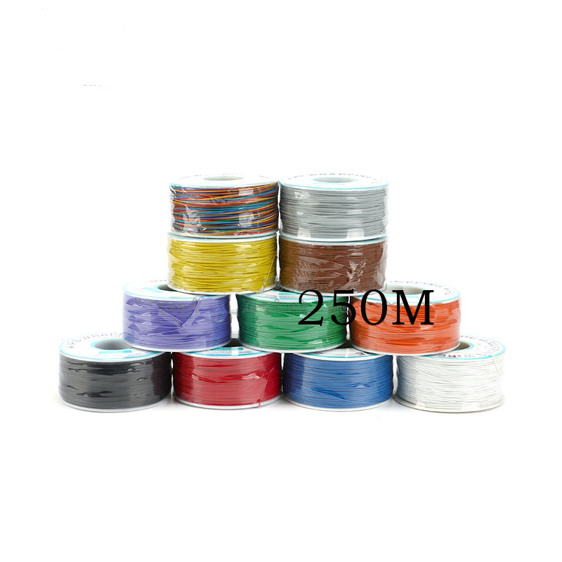 Free shipping 1PC PCB flying jumper wire OK line 250meter 820FT 30AWG single conductor 250M color option 250m 30awg single core copper wire ok line circuit board flying line pcb jumper electronic wire welding cable