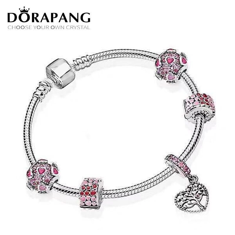 DORAPANG New 100% 925 Sterling Silver Simple Bracelet For Women Valentine's Day Heart Chain Charms Bead Fashion Jewelry Original bead simple