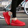 HKR 2017 spring women canvas shoes lace up flats platform shoes women flats red shoes ladies casual breathable mesh shoes T7
