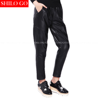 Plus Size Fashion Women High Quality Sheepskin High Waist Slim Was Thin Harlan Leisure Casual Comfortable
