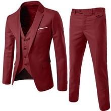 Oeak,, мужские блейзеры, комплект из 3 предметов, блейзер+ жилет+ брюки, деловые костюмы, одноцветные, большие размеры, деловой костюм, комплект