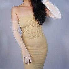 Velour Gloves Lengthened 60cm 2019 Latest High Elastic Female Gold Velvet Woman With Touchscreen Vestido De Noche TB125-1