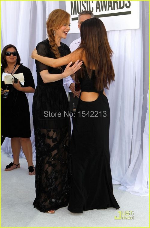 selena gomez dress high silt black long halter prom dress evening ...