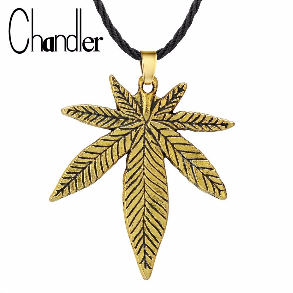Chandler Gold Color <font><b>Cannabiss</b></font> Small Weed Herb Charm Maple Leaf Pendant <font><b>Necklace</b></font> Hip Hop Jewelry Leaves Colier image