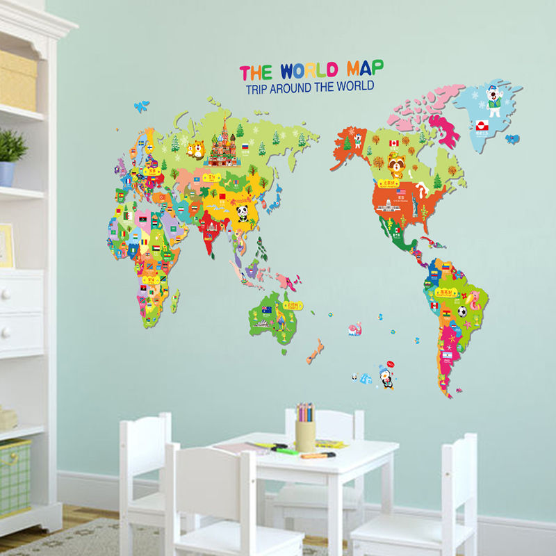 Colorful world map wall sticker kids room for Wall decals kids room