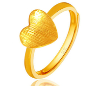 Pure 999 24K Yellow gold Heart Ring Can adjustable 2.85g