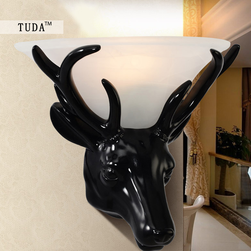 TUDA 28.5X31cm Free Shipping Deer Head Resin Wall Lamp For Living Room Bedroom Wall Lamp Home Decor Glass Lampshade Wall Lamp deer head wall decal
