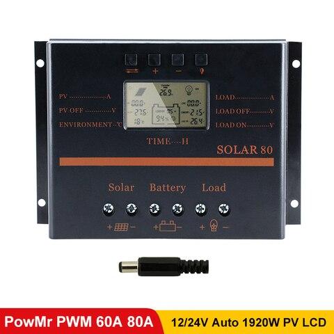 powmr 50a 60a 80a pwm controlador de carga solar 12 v 24 v display lcd