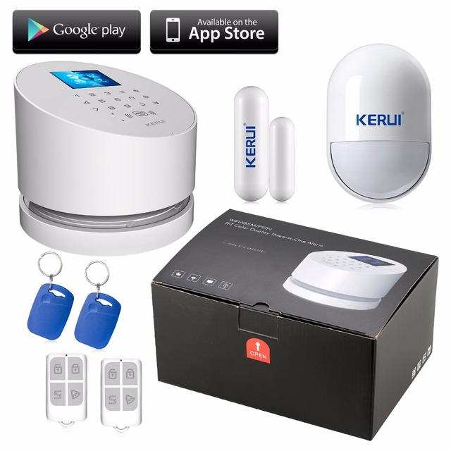KERUI Sem Fio wi-fi sistema de alarme IOS andorid APP Wifi GSM linha telefônica PSTN RFID sistema de alarme De Segurança wi-fi com o original caixa