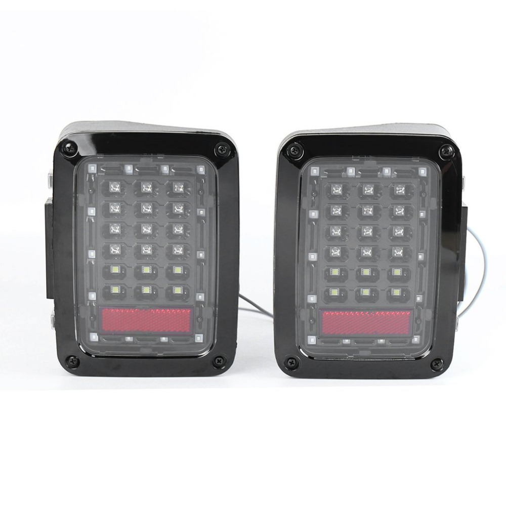 Фотография 2pcs LED Tail Lamp Smoked Taillight Reversing Lamps Turning Signal for Jeep for Wrangler First Generation Car Driving