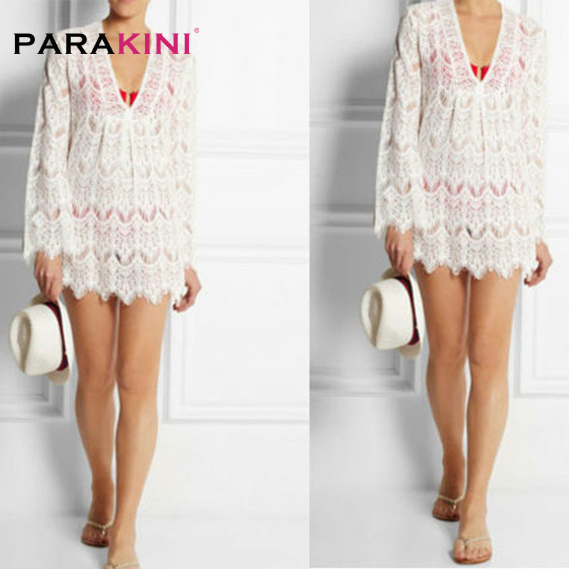 PARAKINI White Lace Crochet Beach Tunic Women Beach Wear 2018 V Neck Long Sleeve Bikini Cover Ups Hollow Out Mini Beach Dress 4