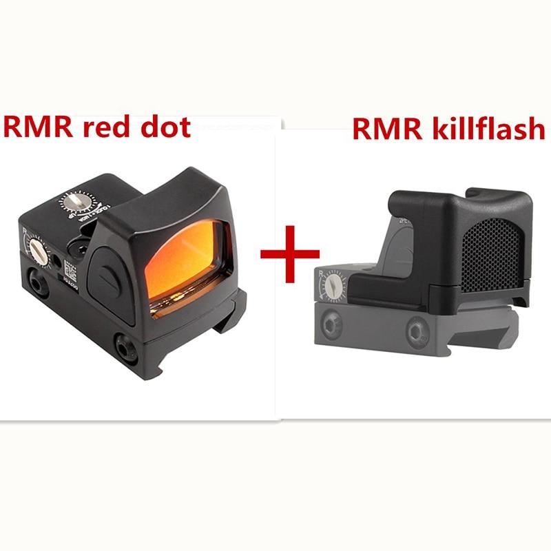 Mini RMR Red Dot Sight Collimator Glock Reflex Sight and Kill Flash fit 20mm Weaver Rail