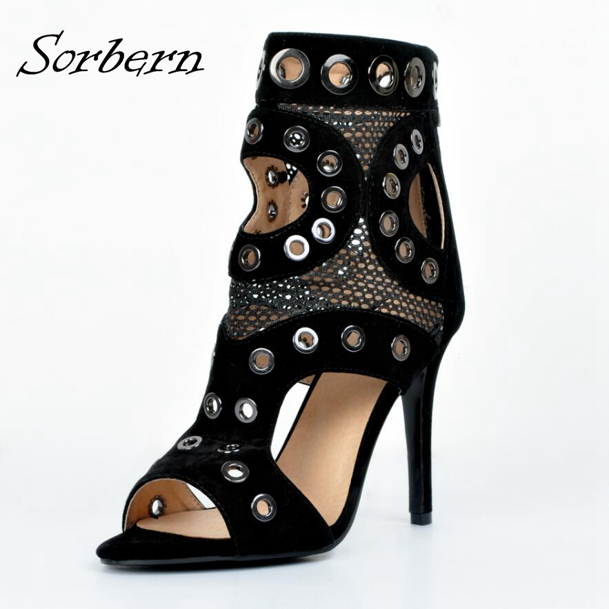 Sorbern Women Ankle Boots Summer Style Hollow Out Plus Size 34-46 Shoes High Heels Real Image Open Toe Boots Back Zipper 2018 plus hollow out knot tee