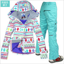 2014 womens ski suit ladies snowboard suit skiing suit women white with colorful rhombus jacket and blue pants snow wear skiwear