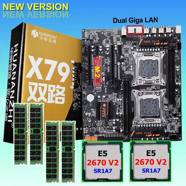 Discount motherboard bundle HUANAN ZHI dual X79 LGA2011 motherboard with M.2 slot dual CPU Intel Xeon E5 2670 V2 RAM 64G(4*16G)