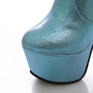 Image 4 - 2019 جديد 15 سنتيمتر سوبر عالية الكعب النساء الأحذية 6 سنتيمتر منصة حذاء برقبة للركبة السيدات فستان نادي أحذية رقص الذهب الفضة الأزرق
