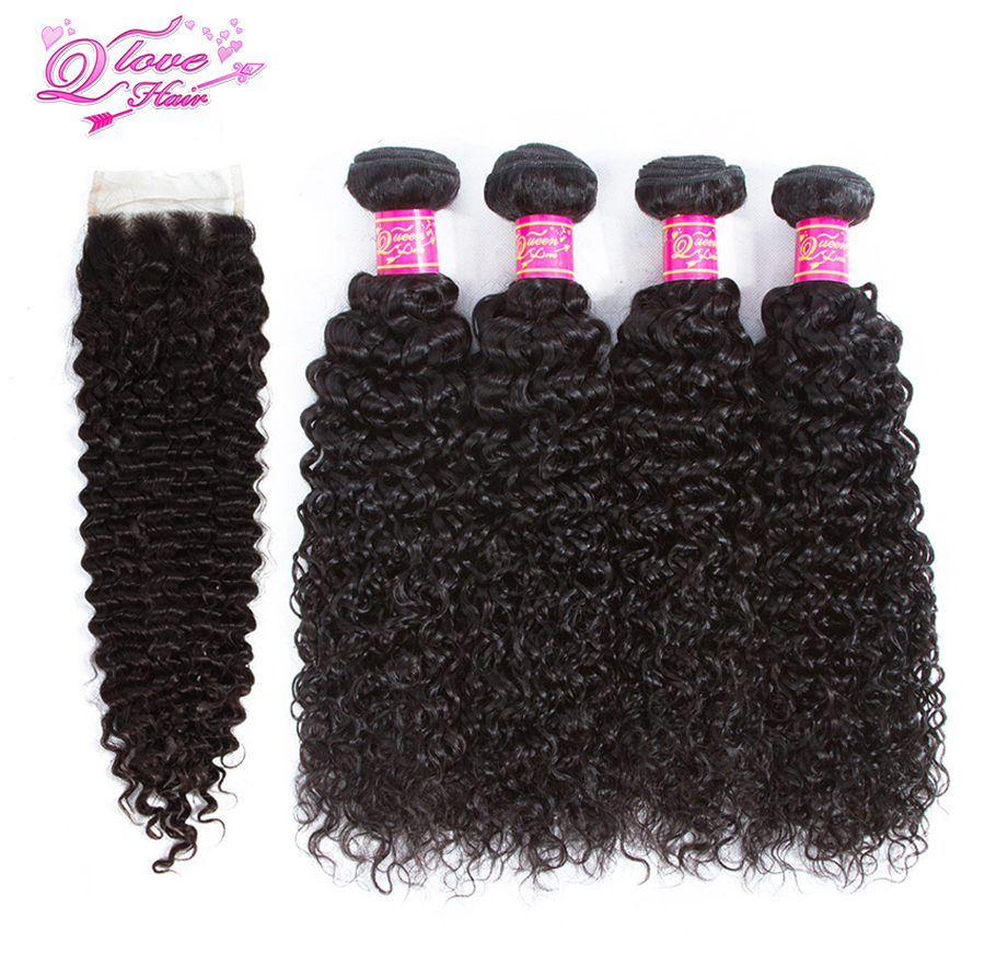 Queen Love Hair Brazilian Kinky Curly 4 Bundles With Closure 100% Human Hair With Closure Remy Hair Weave Extensions