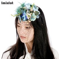 Fashion Cap Flower Headwear Hairpins Festival Party Prom Hair Clip Artificial Flowers Hairpin Hair Accessories Women
