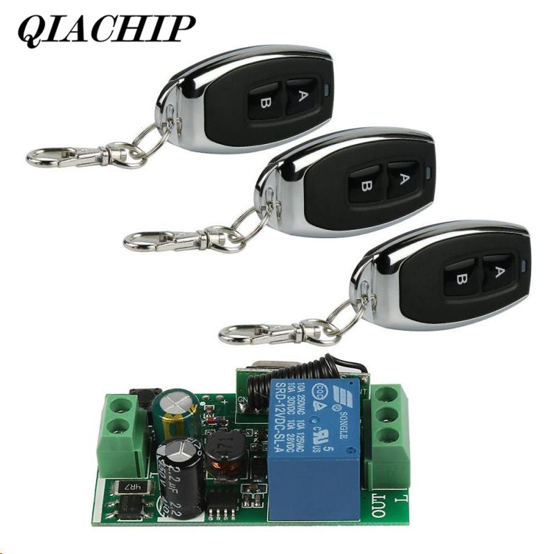 433Mhz Wireless Remote Control Switch AC 110V 220V 1 Channel Relay Receiver Module and 3 ...