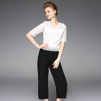High Quality 2017 2 Piece Set Summer Office Work Runway Lady Black Suit Women S Sets