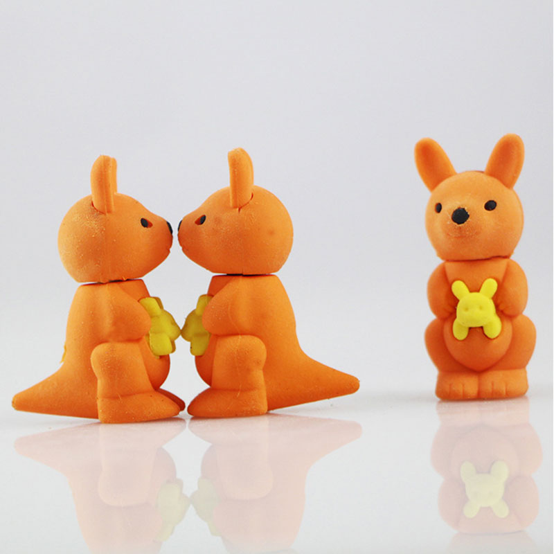 1X cute Cartoon eraser mini kangaroo  modelling children stationery gift prizes kawaii school office supplies papelaria