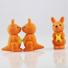 Купить с кэшбэком 1X cute Cartoon eraser mini kangaroo  modelling eraser children stationery gift prizes  kawaii school office supplies papelaria