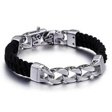 Granny Chic Men Multilayer Braided Leather Bracelet Stainless Steel Specific Design Clasp Bangles Fashion Punk Male Jewelry