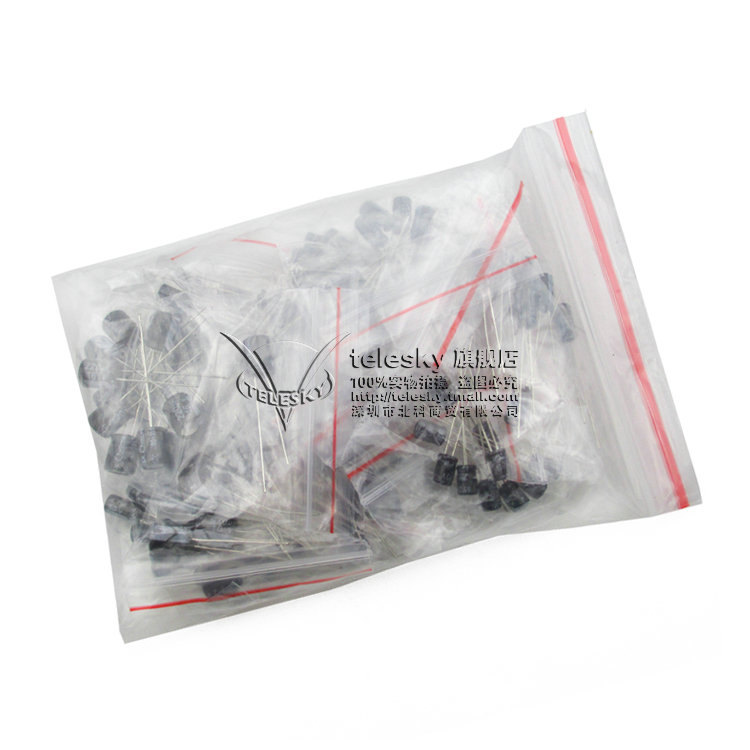120pcs 12 value kit 1uF-470uF Electrolytic Capacitor Package 1UF 2.2UF 3.3UF 4.7UF 10UF 22UF 33UF 47UF 100UF <font><b>220UF</b></font> image